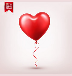 valentines day red balloon with ribbon heart vector image