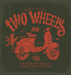 Vintage scooter hand drawn t-shirt design vector