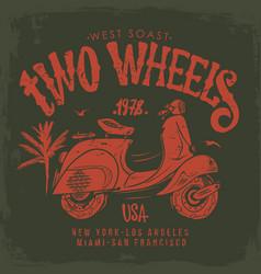 vintage scooter hand drawn t-shirt design vector image