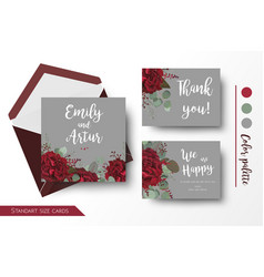 wedding invite invitation thank you floral cards vector image vector image
