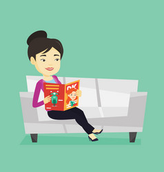 woman reading magazine on sofa vector image