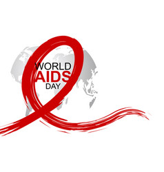 World aids day design of red ribbon and world vector