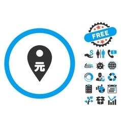 Yuan Map Marker Flat Icon with Bonus vector image