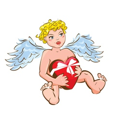Funny angel with heart gift box - Valentines Day vector image