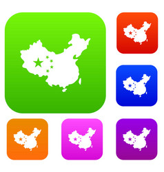 map of china set color collection vector image vector image