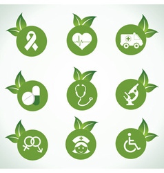 Medical icons and design with green leaf vector image vector image