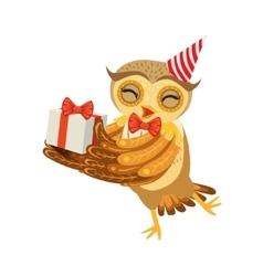 Owl and birthday present cute cartoon character vector