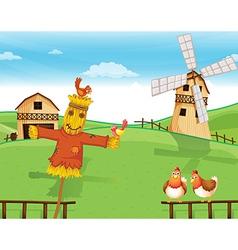 A farm with a scarecrow vector image vector image