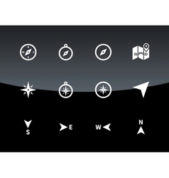Compass icons on black background vector image vector image