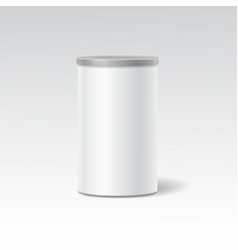 object White round tin packaging Tea vector image