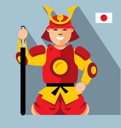 samurai japan flat style colorful cartoon vector image vector image