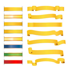set of bright golden ribbons vector image vector image