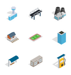 city elements icons isometric 3d style vector image vector image