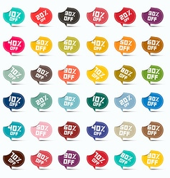 Colorful Paper 10 off 20 off 30 off 40 off 50 off vector image vector image