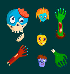 colorful zombie scary cartoon character and magic vector image