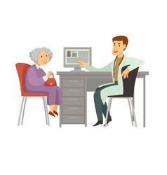 old woman patient visit doctor cartoon icon vector image vector image