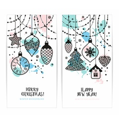 Christmas toys on white background Holiday banners vector image vector image