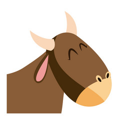 cute head ox manger character image vector image
