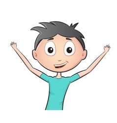 Happy kid with hands up vector image