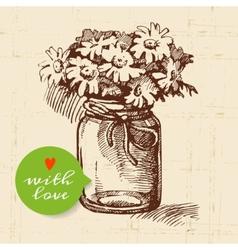 Rustic mason canning jar Vintage hand drawn sketch vector image vector image