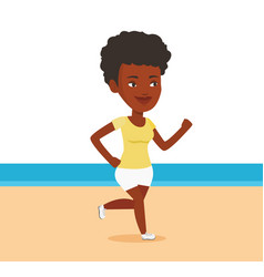young sporty woman jogging on the beach vector image vector image