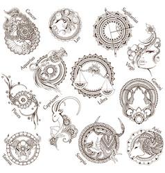 12 stylized zodiac signs vector