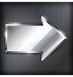 Arrow sign on a metal background vector image