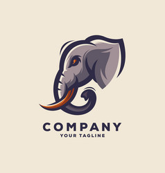 awesome elephant head logo design vector image