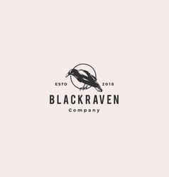 black raven crow logo hipster vintage retro icon vector image