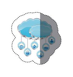 Blue cloud data services apps vector
