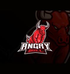 bull mascot sport logo design vector image