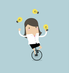 Businesswoman juggling light bulb while cycling vector