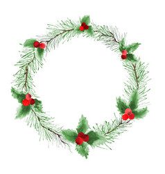 christmas wreath watercolor with pine branches vector image