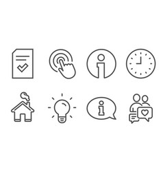 Clock light bulb and checked file icons vector