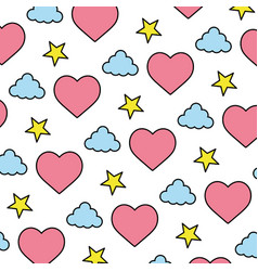 color heart and cloud with bright star background vector image