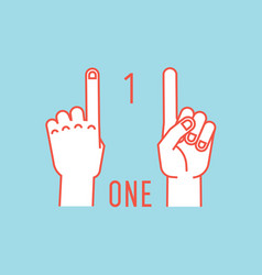 count on fingers number one gesture stylized vector image