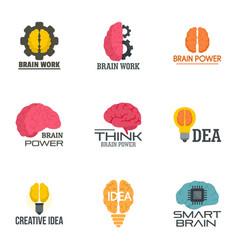 creative idea brain logo set flat style vector image