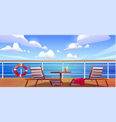 Cruise ship deck with sun loungers wooden table vector