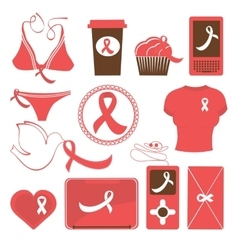Cute breast cancer awareness items collection vector