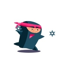 Cute Emotional Ninja Throwing a Shuriken vector