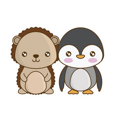 Cute penguin with porcupine animals vector