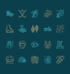Cute thin line icons of winter sports outdoor vector