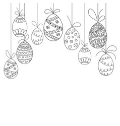 Easter invitation card from doodle eggs vector