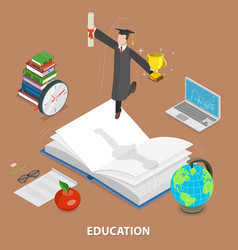 education flat isometric low poly concept vector image