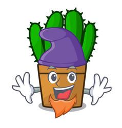 Elf spurge cactus in a flowerpot cartoon vector