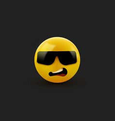 face with sunglasses emoji - emoticon with dark vector image