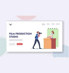 Film production studio landing page template vector