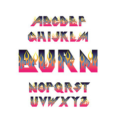 fire flame burning fonts vector image