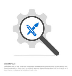 flat design pencil icon search glass with gear vector image