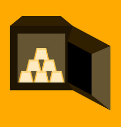 Flat icon on stylish background gold bars in a vector